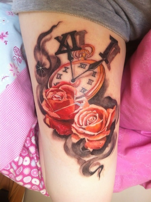 Cute-Clock-Thigh-Tattoo
