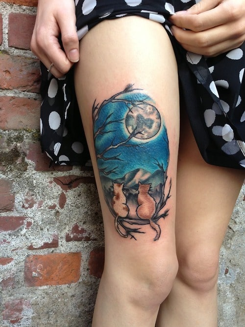 Moon-Cats-Thigh-Tattoo