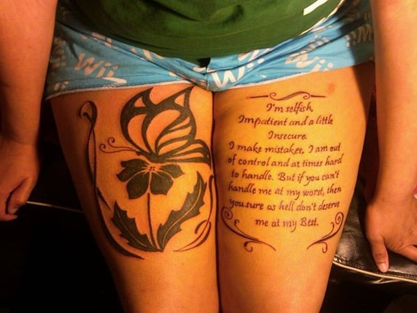 Quotes-flower thigh-tattoo