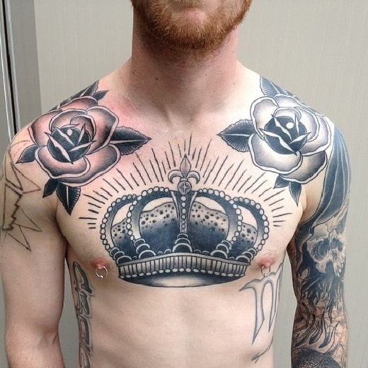 big-crown-tattoo-on-chest