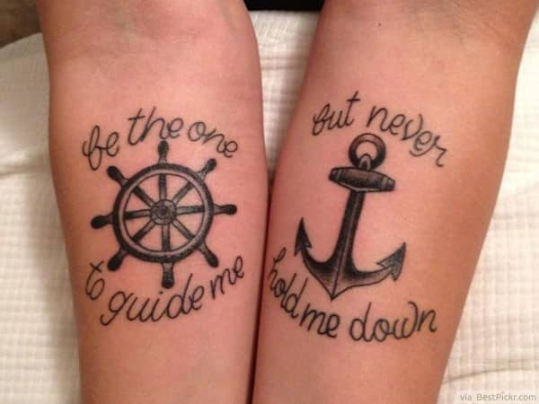 Anchor-Wheel-matching-tattoo-for-couples-in-love