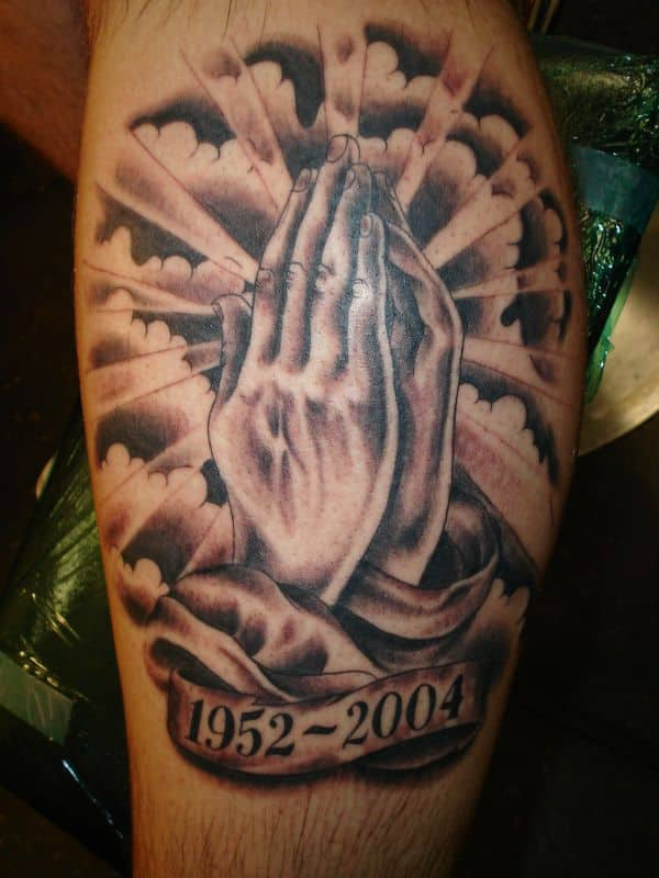 rip hands praying tattoo