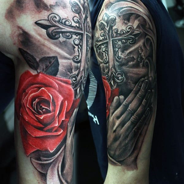 praying-hands-with-roses-tattoo-designs-for-guys-in-red-ink