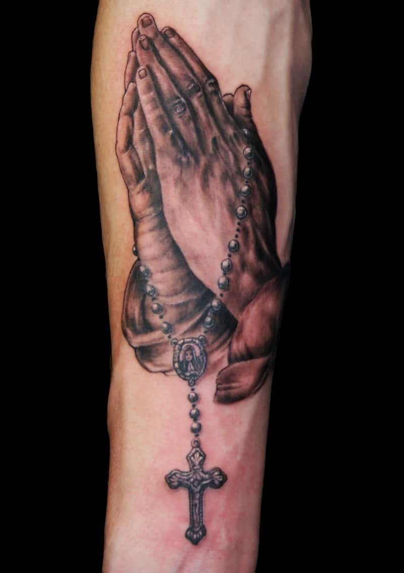 mother mary prayer hands tattoo