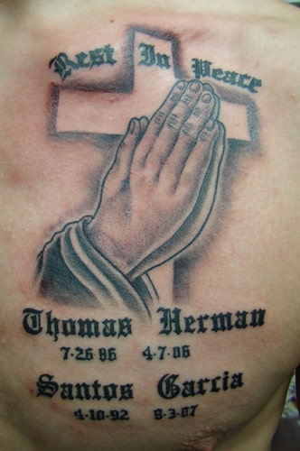 prayer hands tattoo