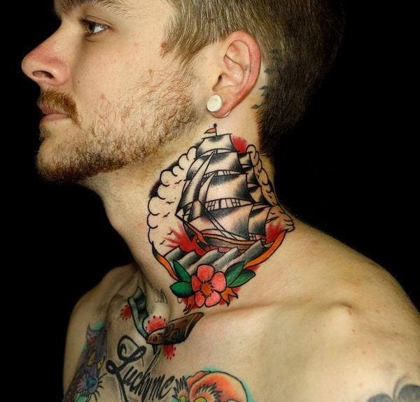 Ship-tattoo-on-neck
