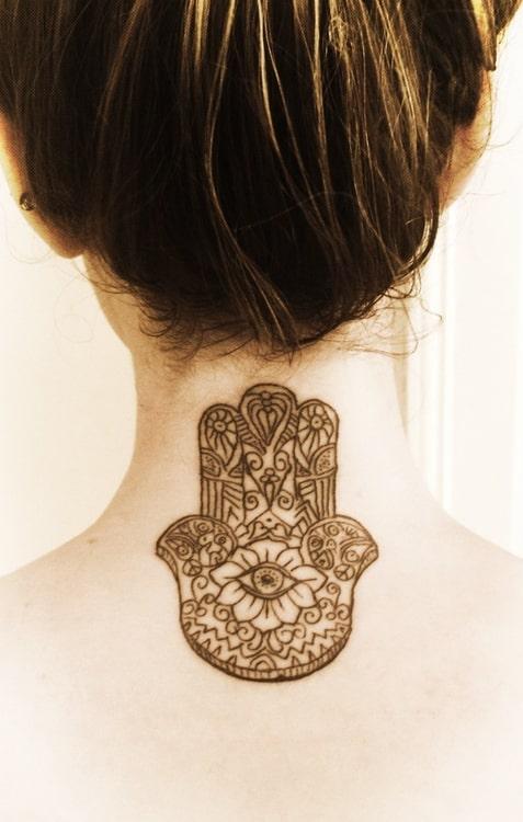 female neck tattoos