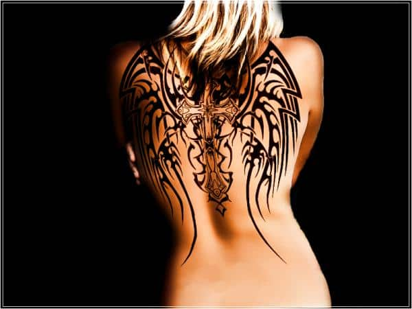 Angel-Cross-Wings-Tattoo-on-Back