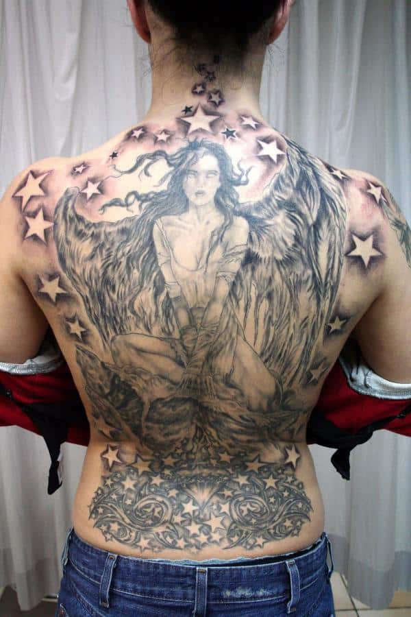 Angel-Wing-Finished-Tattoos-with-Stars