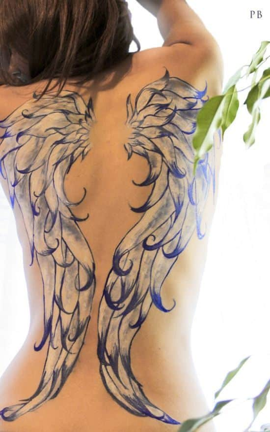 Beautiful-full-back-angel-wings-tattoo