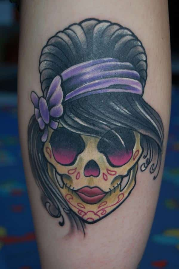 Girly Sugar Skull Black Pearl Tattoo Halloween Skull Tattoo For