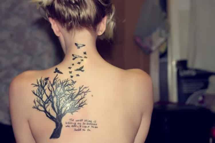 Back Tree Birds Tattoos for Women