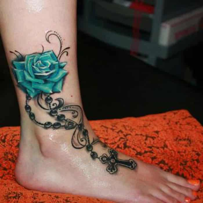 Rose Ankle foot Tattoo Women