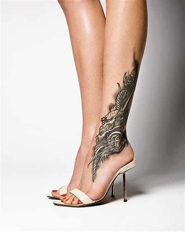 tattoo ideas for women unique dragon in foot