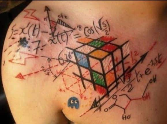 Cool-Color-Tattoo-Tribal-rubik cube maths geek tattoos