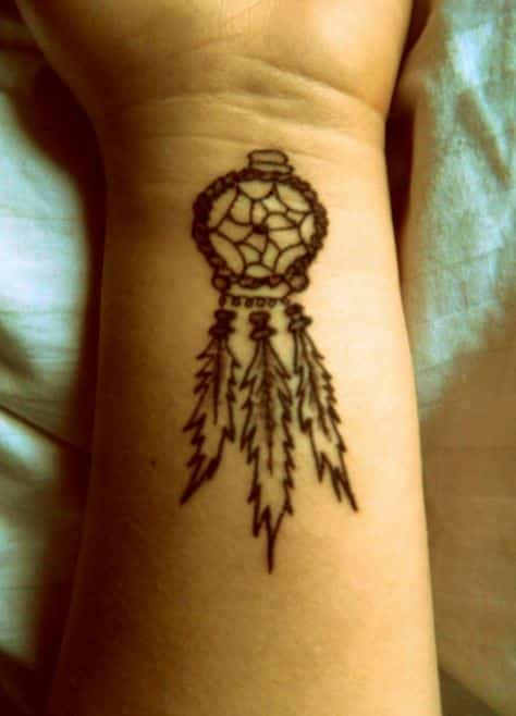 Small Dream Catcher Tattoo On Wrist Tattoo Bytes