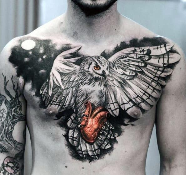 mens-badass-chest-tattoos-of-owl-with-glowing-red-heart
