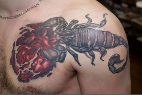 scorpion-sting-heart-badass tattoos