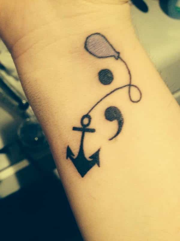 semicolon tattoos anchor balloon