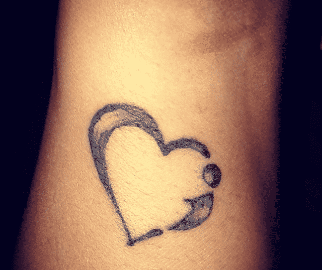 semicolon tattoo with heart