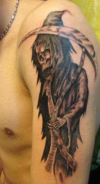 105 cool grim reaper tattoos designs ideas and meanings. Black Bedroom Furniture Sets. Home Design Ideas