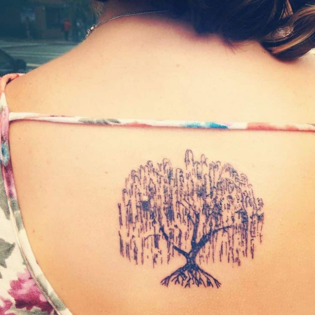 Women Willow Tree Back Tattoo