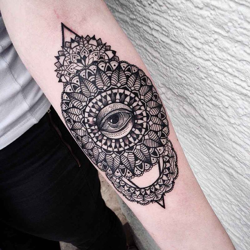 Cool Mandala Eye Tattoo On Forearm