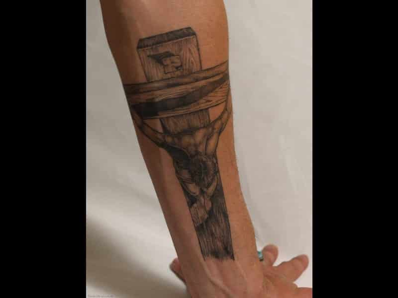 Tattoosso Realistic Crucified Jesus Tattoo On Forearm
