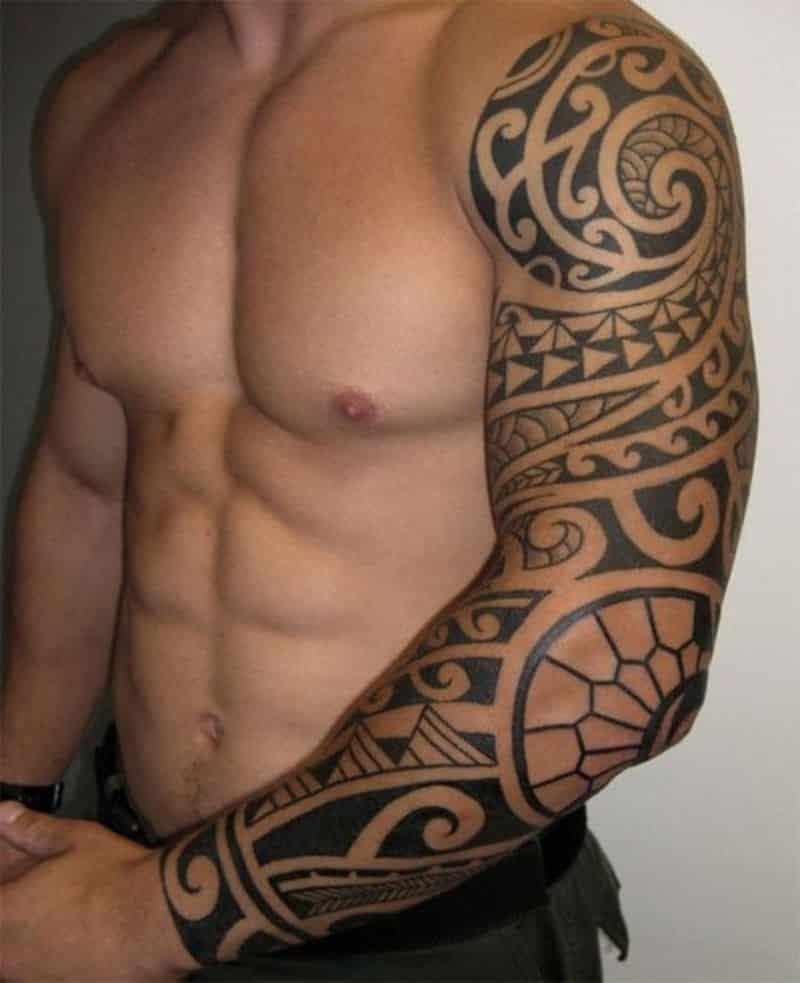 tribal full sleeve tattoo designs for men tattoo bytes. Black Bedroom Furniture Sets. Home Design Ideas