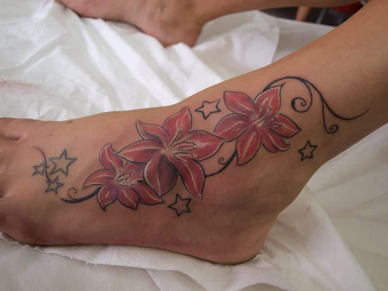 Flowers Ankle Tattoo