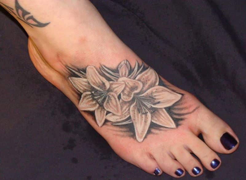 Pink Flower Ankle Tattoo Design