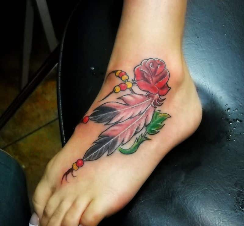 Rose With Feather Tattoo