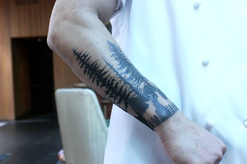 Right Arm Black Ink Forest Tattoo
