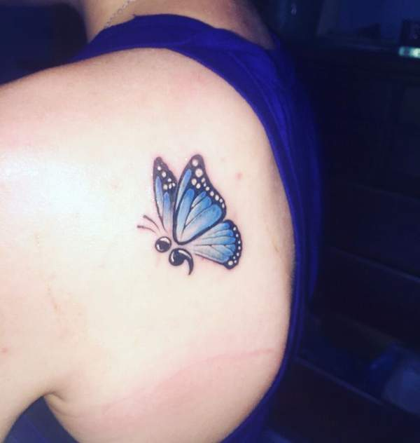 Semicolon butterfly tattoos