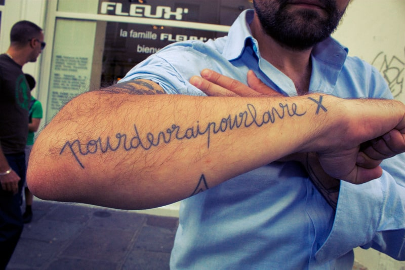 mathieu tattoo calligraphy