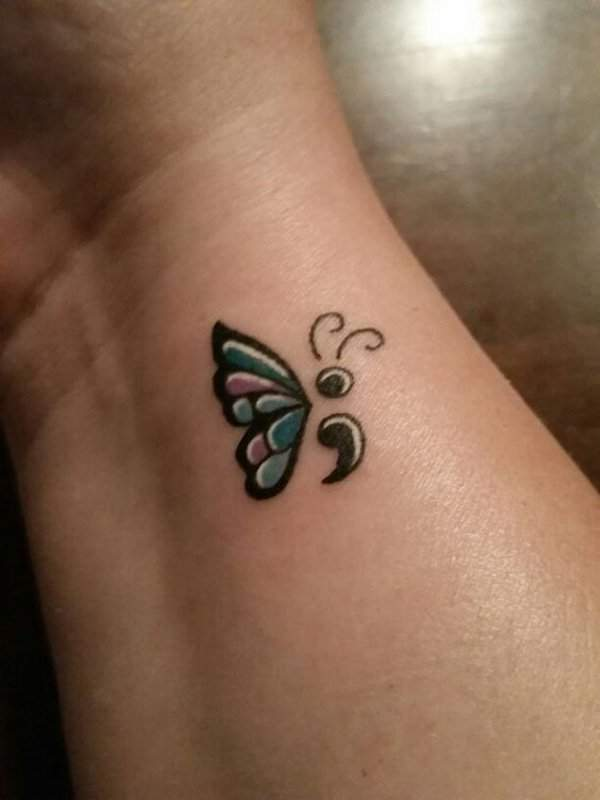nice Semicolon butterfly tattoo meaning