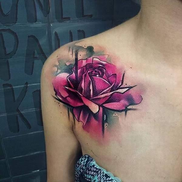 watercolor rose tatto