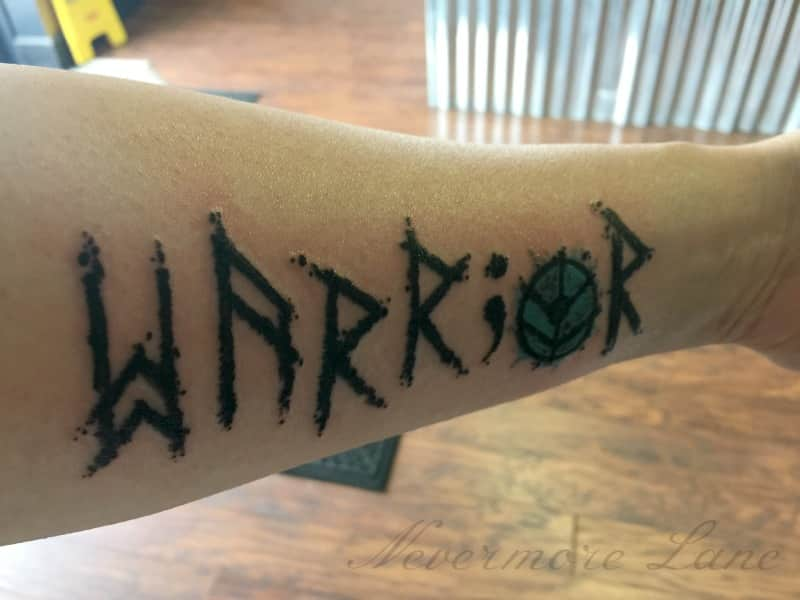semicolon warrior sheildmaiden tattoo