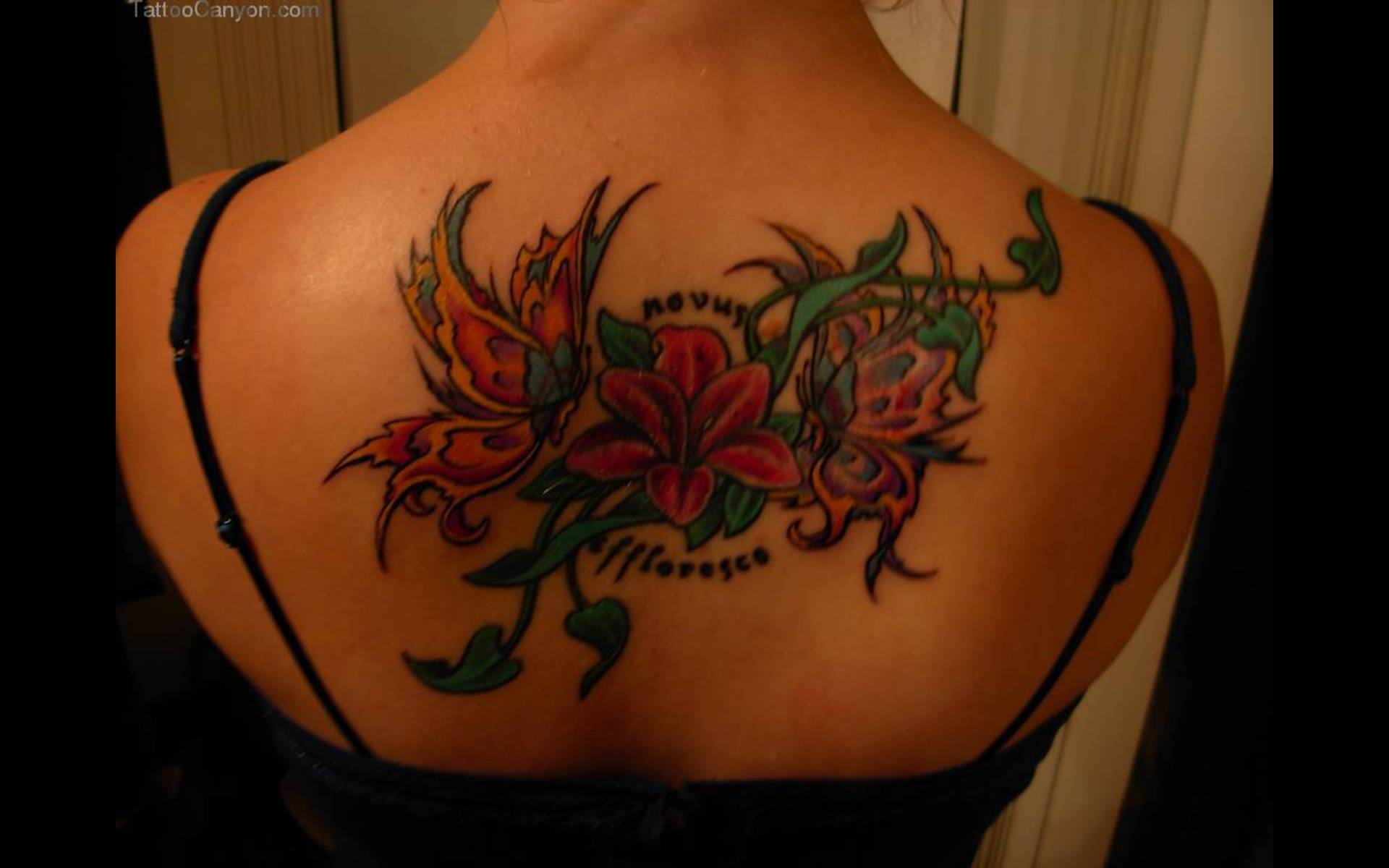 Butterflies With Flowers Tattoo On Upper Back Tattoo Bytes