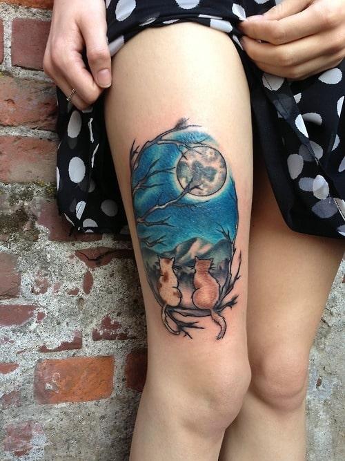 Moon-Cats-Thigh-Tattoo