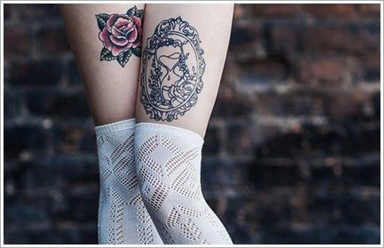 flower thigh-tattoos