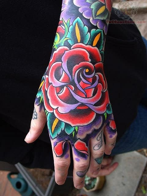 traditional-flower-tattoo-on-hand