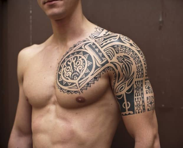 tribal-chest-tattoo for men
