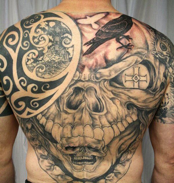 tribal tattoo skull tribal back tattoo for men