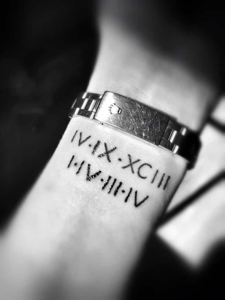 roman numeral date tattoo