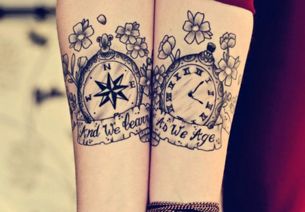 Compass-and-watch-matching-tattoo