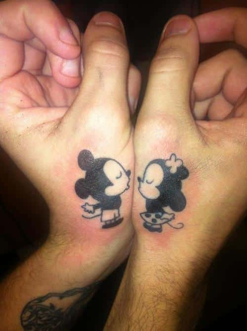 Kissing-Mickey-and-Minnie-matching-tattoo-ideas