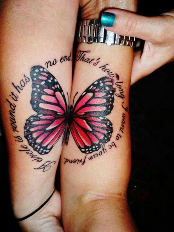 Matching-tattoo-Butterfly-on-Forearm