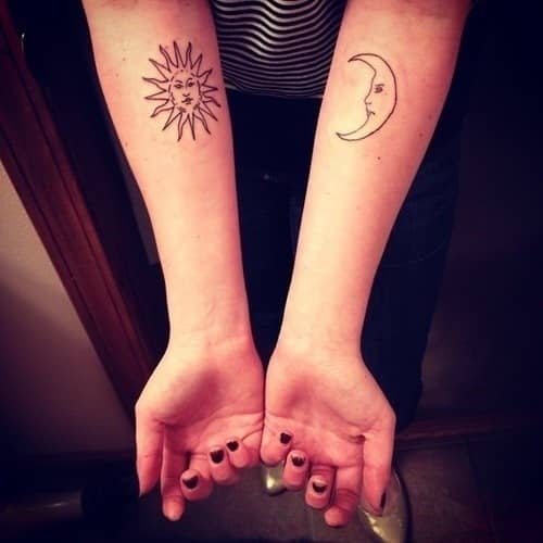 Small-Matching-Tattoos-for-Women-Sun-and-Moon