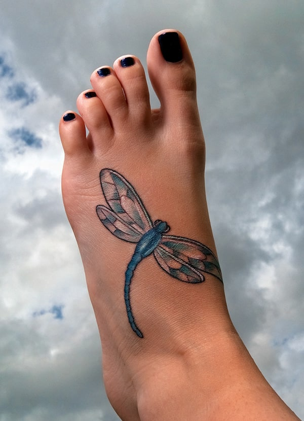 dragonfly-tattoo on foot